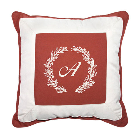 "Cursive Wreath<br>Custom Monogram<br><small>18"" x 18"" - Canvas Henna</small>"