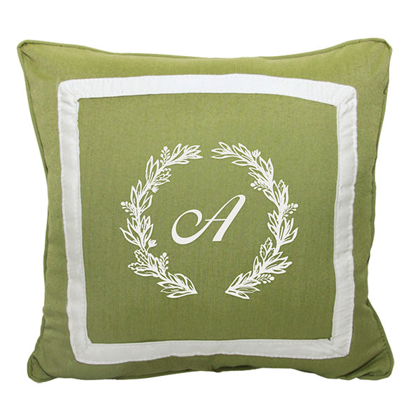 "Cursive Wreath<br>Custom Monogram<br><small>18"" x 18"" - Spectrum Cilantro</small>"