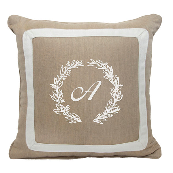 "Cursive Wreath<br>Custom Monogram<br><small>18"" x 18"" - Heather Beige</small>"