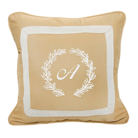 "Cursive Wreath<br>Custom Monogram<br><small>18"" x 18"" - Canvas Wheat</small>"