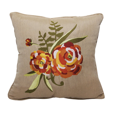 "Zinnia Embroidery<br><small>18""x18"" - Canvas Heather Beige</small>"