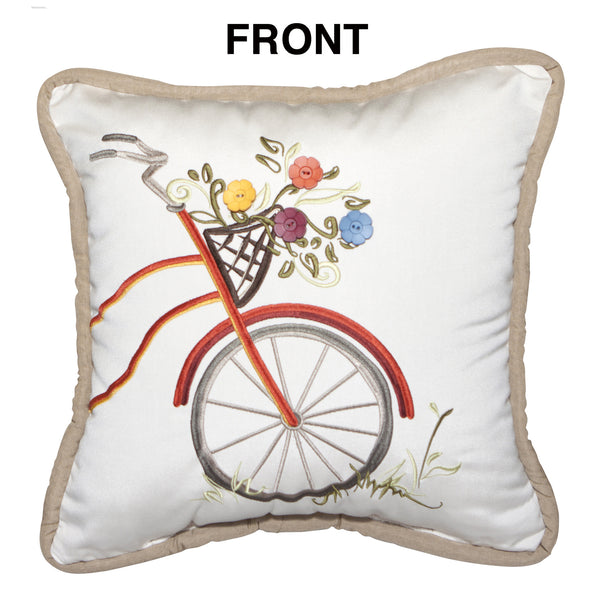 "Bicycle Embroidery<br>with Buttons<small><br>(Set of 2)<br>18""x18"" - Canvas Canvas</small>"