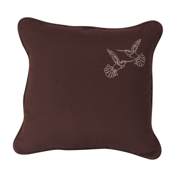 "Hummingbird Embroidery<br><small>18""x18"" - Canvas Bay Brown</small>"