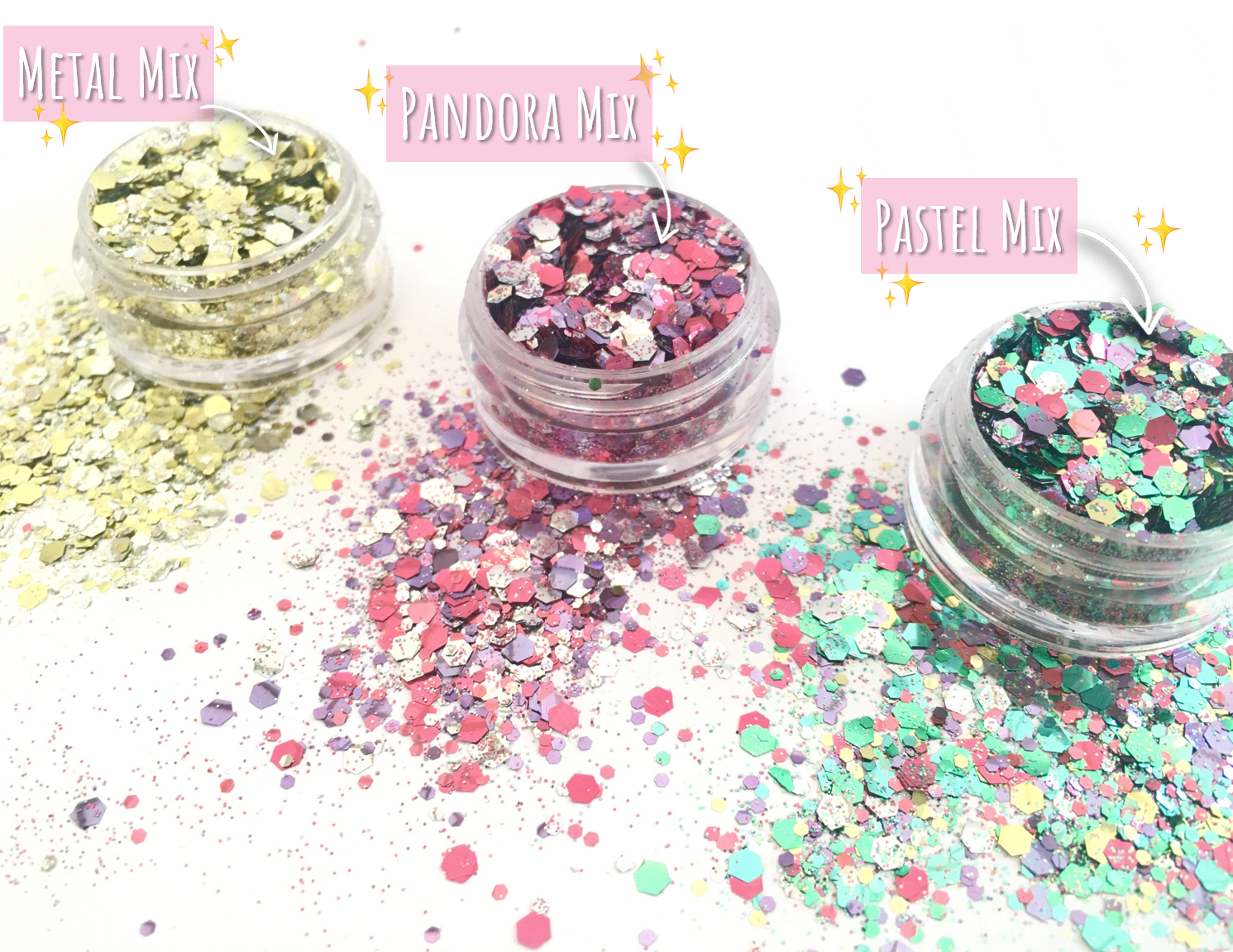 Dust and Dance Bio Biodegradable Eco Friendly Chunky Hair Face Body Festival Glitter Pastel Mix trio