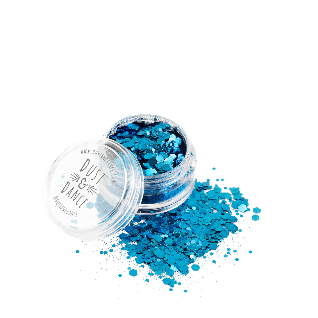 Dust and Dance Bio Biodegradable Eco Friendly Chunky Hair Face Body Festival Glitter Ocean Blue