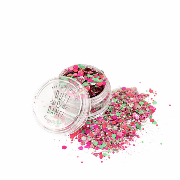 Dust and Dance Bio Biodegradable Eco Friendly Chunky Hair Face Body Festival Glitter Pink Mix