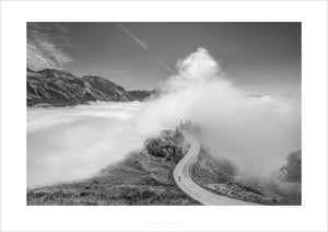 Cycling Art - Gifts for Cyclists - Col d'Aubisque - Don't Look Back - Black and white Fine art photography prints. One of the Great Cycling Road Climbs for your home, office and pain cave by davidt. Make a house a home.