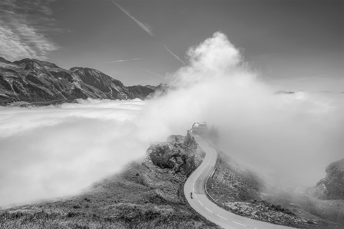 Cycling Art - Gifts for Cyclists - Col d'Aubisque - Don't Look Back - B&W Fine art photography prints. One of the Great Cycling Road Climbs for your home, office and pain cave by davidt. Make a house a home.