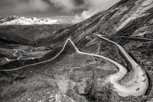 Gifts for Cyclists - Colle Delle Finestre - Gravel - Black and White. One of the Great Cycling Road Climbs fine art cycling phototgraphy prints for your home, office and pain cave by davidt.