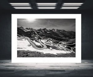 Col du Galibier Black and White - Gifts for Cyclists. One of the Great Cycling Road Climbs by davidt. Ideal for your home, pain cave and office..