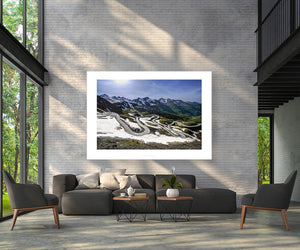 Gifts for Cyclists, cycling gifts, the Col du Galibier. Fine art cycling landscape photography prints by davidt. For your home, office and gym. The Alps at their best.