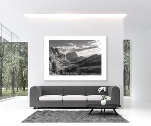 Gifts for cyclists - The Dolomites Passo Gardena - black and white cycling photography prints for your home office and pain cave by davidt