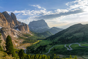 The Dolomites - Gifts for Cyclists - Passo Gardena Cycling landscape fine art prints for your home, office and pain cave by davidt