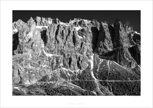 Dolomites Passo Gardena - The Wall B&W cycling gifts for cyclists by davidt