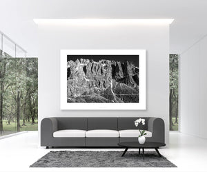Gifts for cyclists - The Dolomites Passo Gardena - The Wall - Black and white cycling photography prints for your pain cave, home and office by davidt