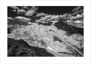 Gifts for Cyclists - Col d'Izoard - Casse BLack and White. One of the Great Cycling Road Climbs fine art cycling landscape photography by davidt. For your home, office, and pain cave