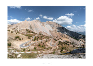 Gifts for Cyclists - Col d'Izoard - Rider on the Road. One of the Great Cycling Road Climbs fine art cycling landscape photography by davidt. For your pain cave, office and home.