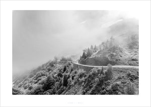 Life is a Road - Black & White - Fine art cycling landscape photography prints for your home, office, studio and pain cave by davidt. Gifts for cyclists