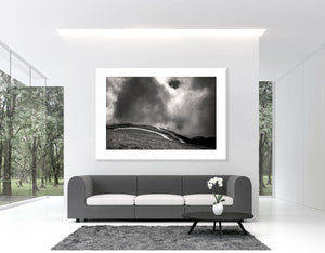 Gifts for Cyclists - No Fear Black and white sports photography - The Iconic Road Fine art cycling landscape photography for the pain cave, office, studio and home by davidt. Pain Cave Pictures