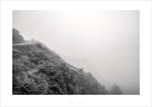 Climbing Oy the Clouds B&W Pain Cave pictures Cycling Landscape Photogrpahy Cycling Art - Gifts for Cyclists - Black and White fine art cycling landscape photography for your home, office and studio by davidt