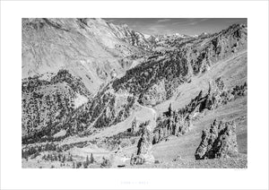 Gifts for Cyclists - Col d'Izoard - Race Day at the Tour de France. One of the Great Cycling Road Climbs fine art cycling landscape photography by davidt. For your pain cave home and office.