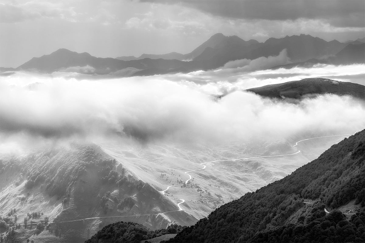 Cycling Gifts - Gifts for Cyclists - Col du Soulor - Cloud Cover B&W. One of the Great Cycling Road Climbs fine art cycling phototgraphy prints for your home, office and pain cave by davidt.