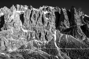 Gifts for cyclists - The Dolomites Passo Gardena - The Wall black and white cycling photography prints for your pain cave, home and office by davidt