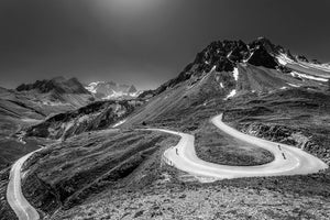 Gifts for Cyclists - Col du Galibier, Horseshoe - Black and White. The Great Cycling Road Climbs. Cycling landscapes for your home, office and pain cave by davidt