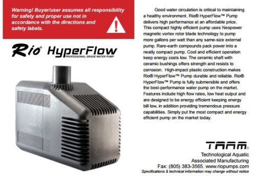 Taam Rio 20 Hyper Flow Water Pump 20HF 1290 gph Powerhead Aquarium Submersible