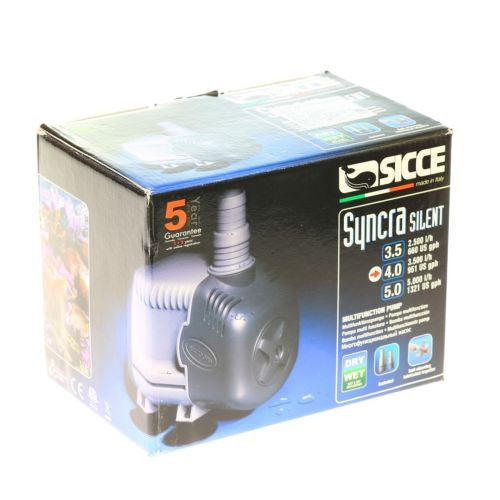 "Sicce Syncra ""Silent"" Pump Model 4.0 951 gph 12.5 ft. Head- Aquarium Fish Tank"