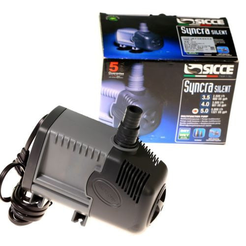 "Sicce Syncra ""Silent"" Pump Model  5.0 1321 gph 12.6 FT. Head- Aquarium Fish Tank"