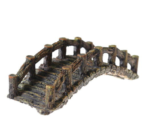"Wooden bridge 7"" Aquarium Ornament Decoration fish tank resin wood Drawbridge"