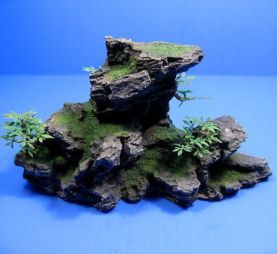 "Mountain Aquarium Ornament tree 11"" 28cm - Rock Cave stone HIDE decor fish tank"