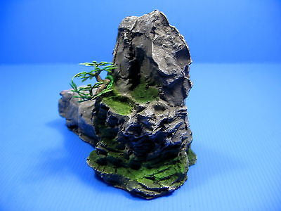 Mountain Aquarium Ornament tree 17.5cm- Rock Cave stone HIDE decor fish tank pet