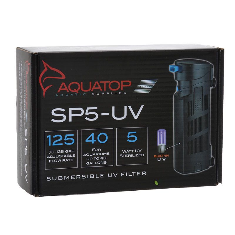 "Goaqua88 Aquatop Submersible UV Filter with Pump | 5 Watts - 72 GPH - Aquariums up to 40 Gallons - (9""L x 3.5""W)"