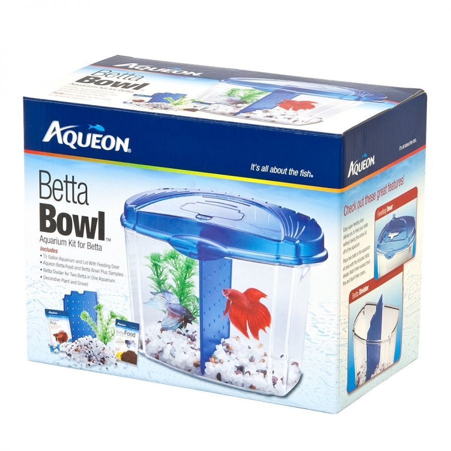Goaqua88 Aqueon Betta Bowl Starter Kit - Blue | .5 Gallon