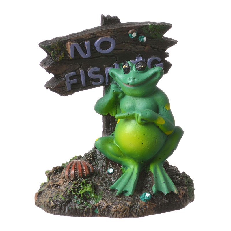 "Goaqua88 Blue Ribbon Pot Belly Frog No Fishing Sign Ornament | 3""L x 3""W x 3.5""H"