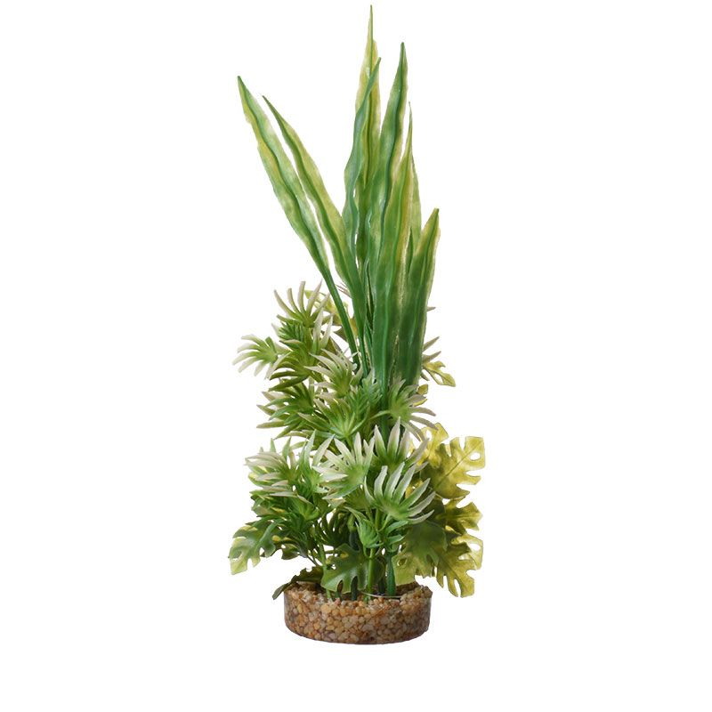 "Goaqua88 Blue Ribbon Fiesta Aqua Bush with Gravel Base - Green | 10"" Tall"