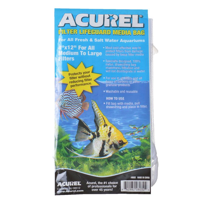 "Acurel Filter Lifeguard Media Bag with Drawstring | 12"" Long x 4"" Wide"