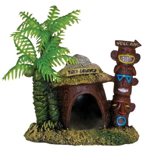 "Goaqua88 Blue Ribbon Exotic Environments Betta Hut with Palm Tree Aquarium Ornament | 4""L x 2.75""W x 3.25""H"