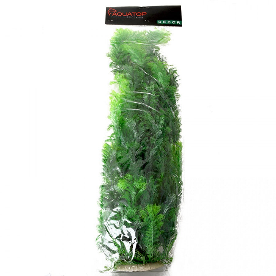 "Goaqua88 Aquatop Bushy Aquarium Plant - Dark Green | 24"" High w/ Weighted Base"