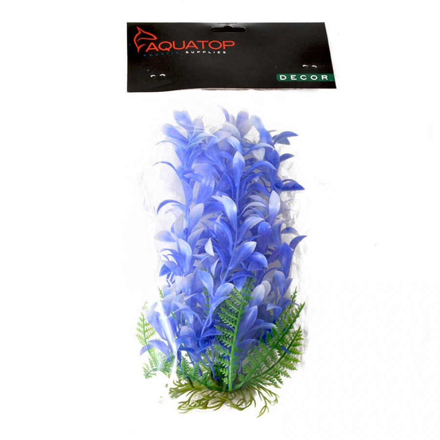 "Goaqua88 Aquatop Bacopa Aquarium Plant - Blue & White | 9"" High w/ Weighted Base"