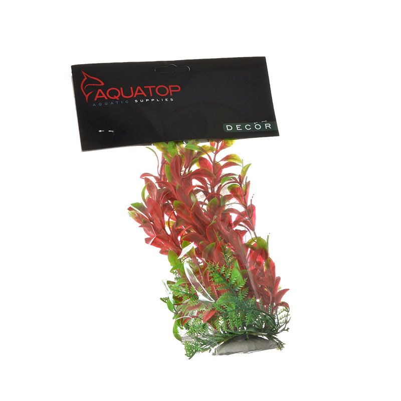 "Goaqua88 Aquatop Hygro Aquarium Plant - Red & Green | 6"" High w/ Weighted Base"