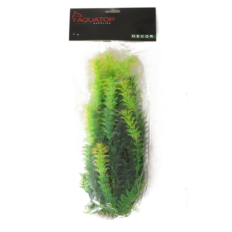 "Goaqua88 Aquatop Yellow Tipped Aquarium Plant - Green | 12"" High w/ Weighted Base"