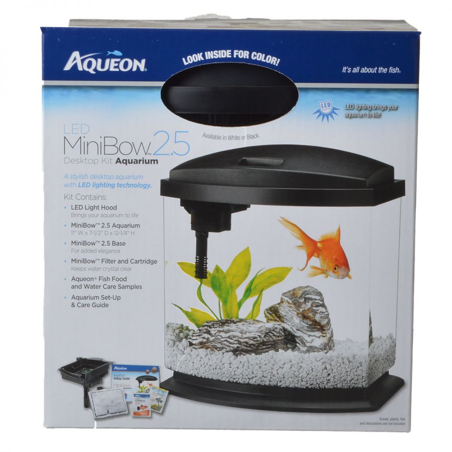 "Goaqua88 Aqueon LED Mini Bow Desktop Aquarium Kit - Black | 2.5 Gallons - (11.5""L x 7.6""W x 12.5""H)"