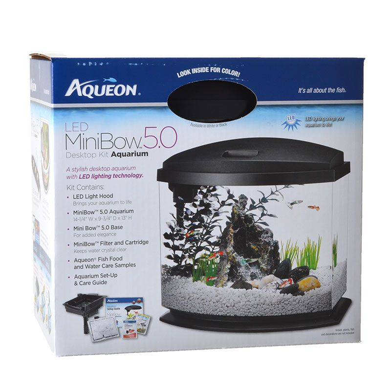 "Goaqua88 Aqueon LED Mini Bow Desktop Aquarium Kit - Black | 5 Gallons - (14.5""L x 10""W x 13.5""H)"