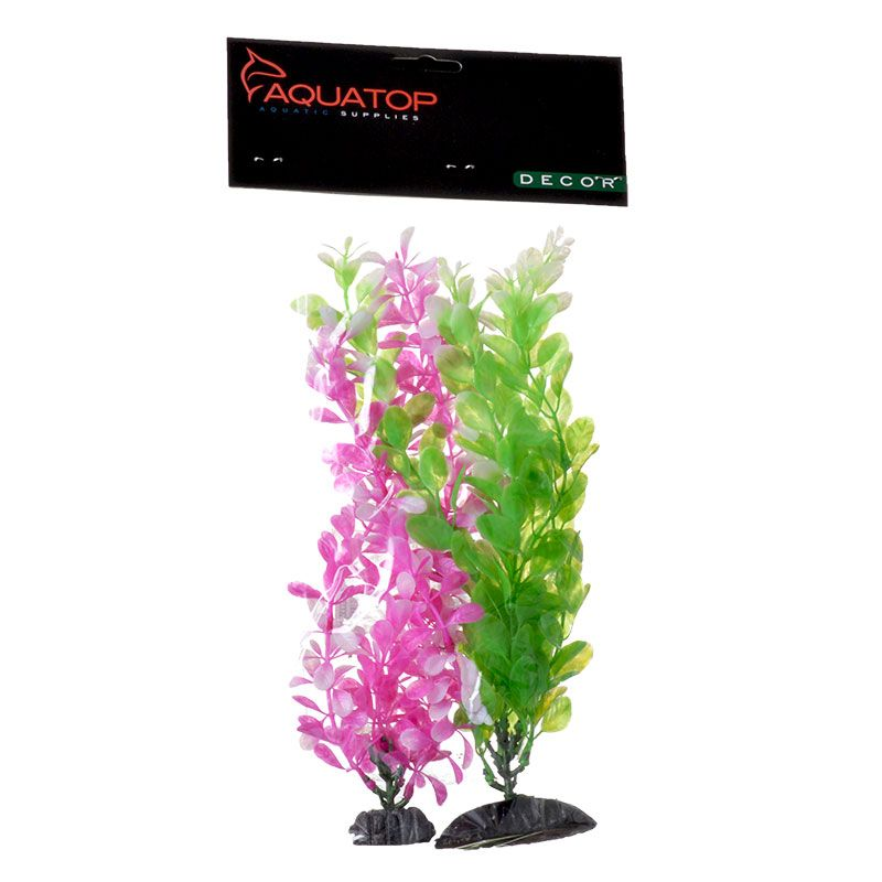 "Goaqua88 Aquatop Multi-Colored Aquarium Plants 2 Pack - Green & Pink | 2 Pack - (15"" High Plants)"