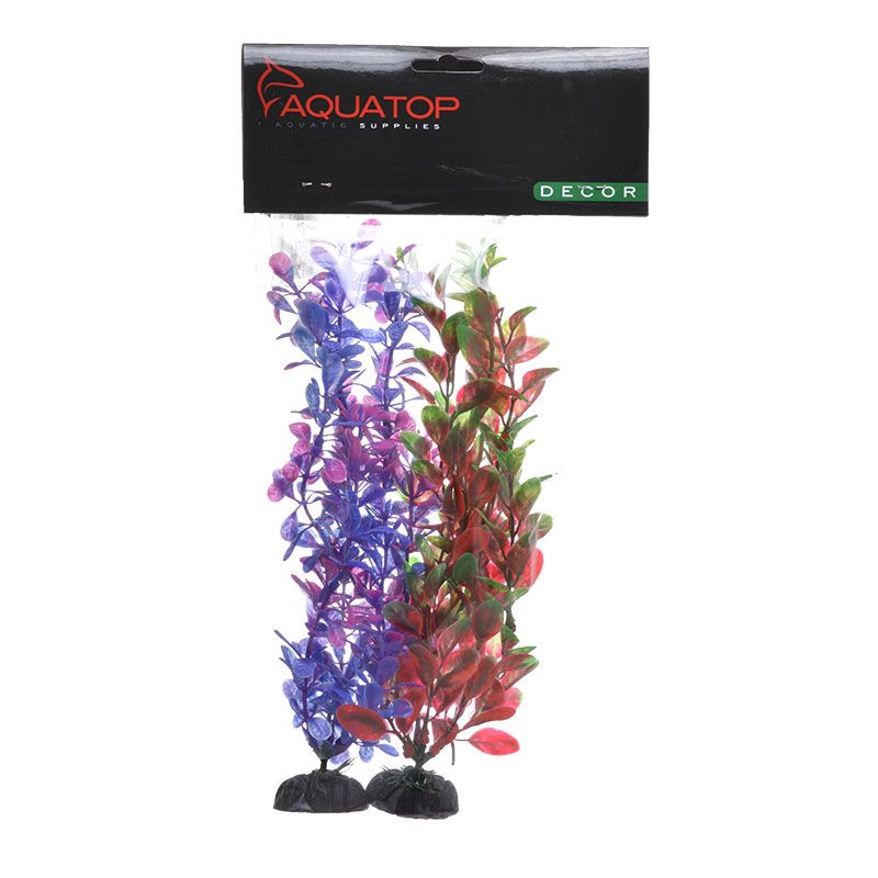 "Goaqua88 Aquatop Multi-Colored Aquarium Plants 2 Pack - Purple/Pink & Green/Red | 2 Pack - (15"" High Plants)"