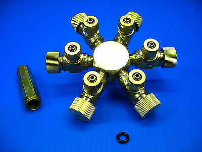 6 way Brass CO2 splitter + Bubble Counter & CHECK VALVE
