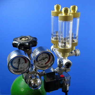 Tri-Regulator CO2 System - Solenoid Regulator 3way Brass Bubble Counter Diffuser